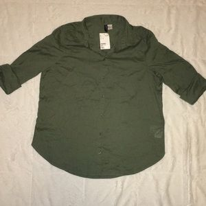 H&M Military Green Button Down Top